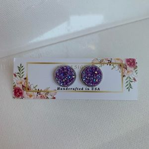 🎀5/$25🎀 Purple Druzy Earrings